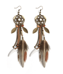 "Spurzo.fr - Boucles d'Oreilles de ""Protection"" Bohie & Marbella - Marron"