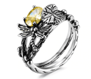 "Spurzo.fr - Bague ""Libellule & Lotus"" - Jaune / 6"