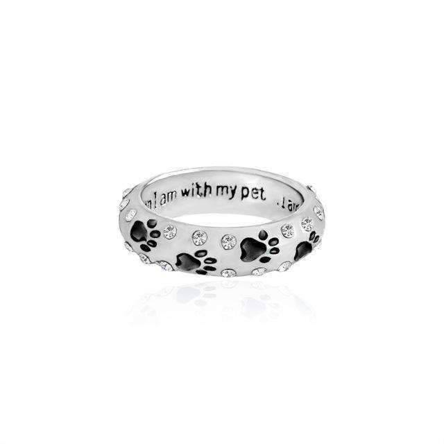 Spurzo.fr - Bague Patte Strass 'When I Am With My Pet' - Noir / 6