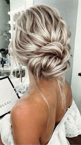 messy low bun  for bridesmaids