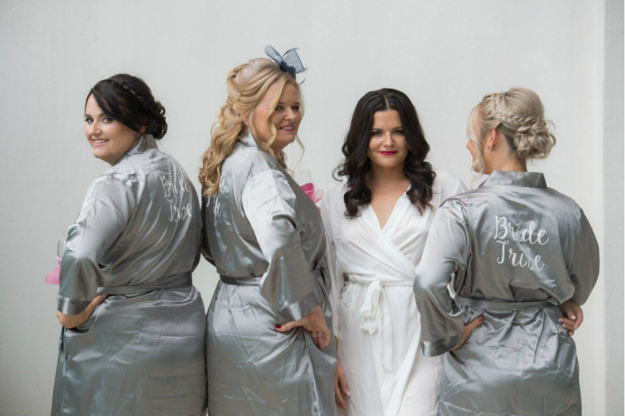 Classic satin bridesmaid robes in grey