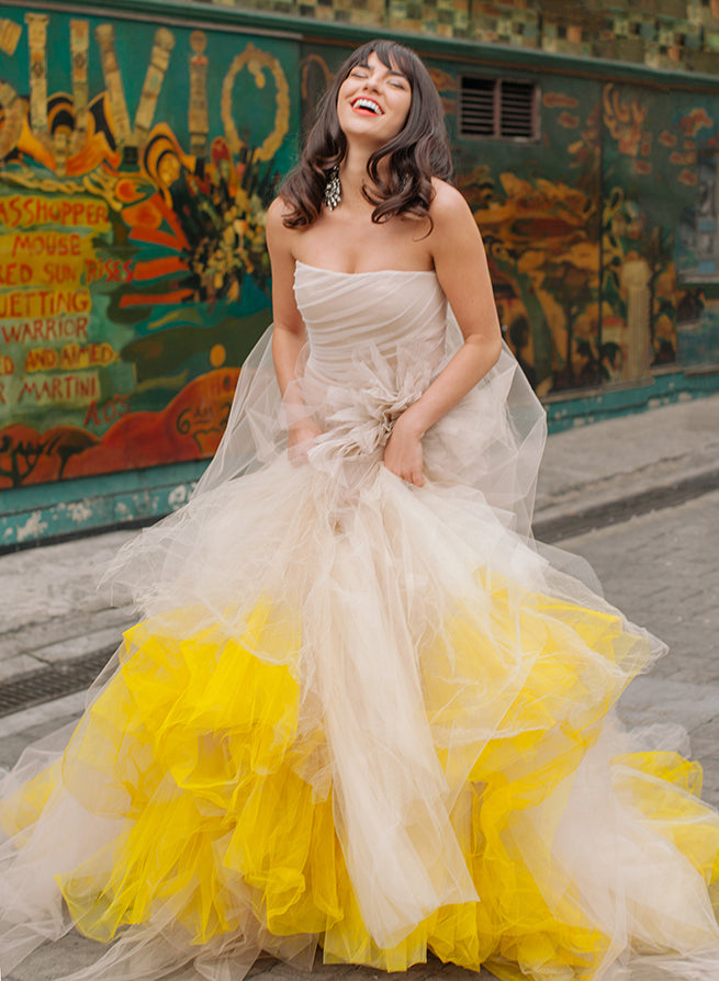 Pantone Colour of the Year 2021 yellow very wang wedding dress