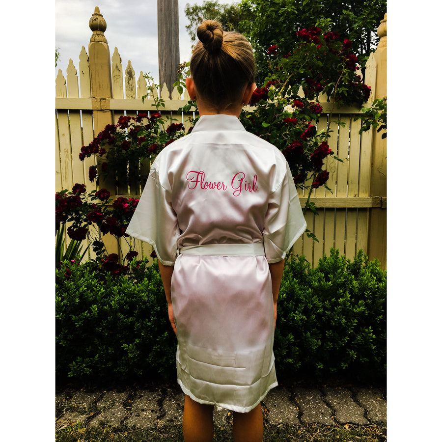 Classic Satin Flower Girl Robes - Bride Tribes