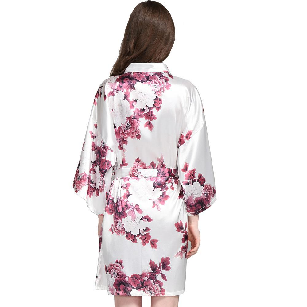 white satin floral robe