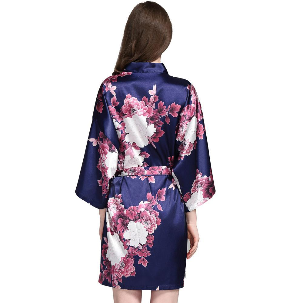 Navy floral satin robes