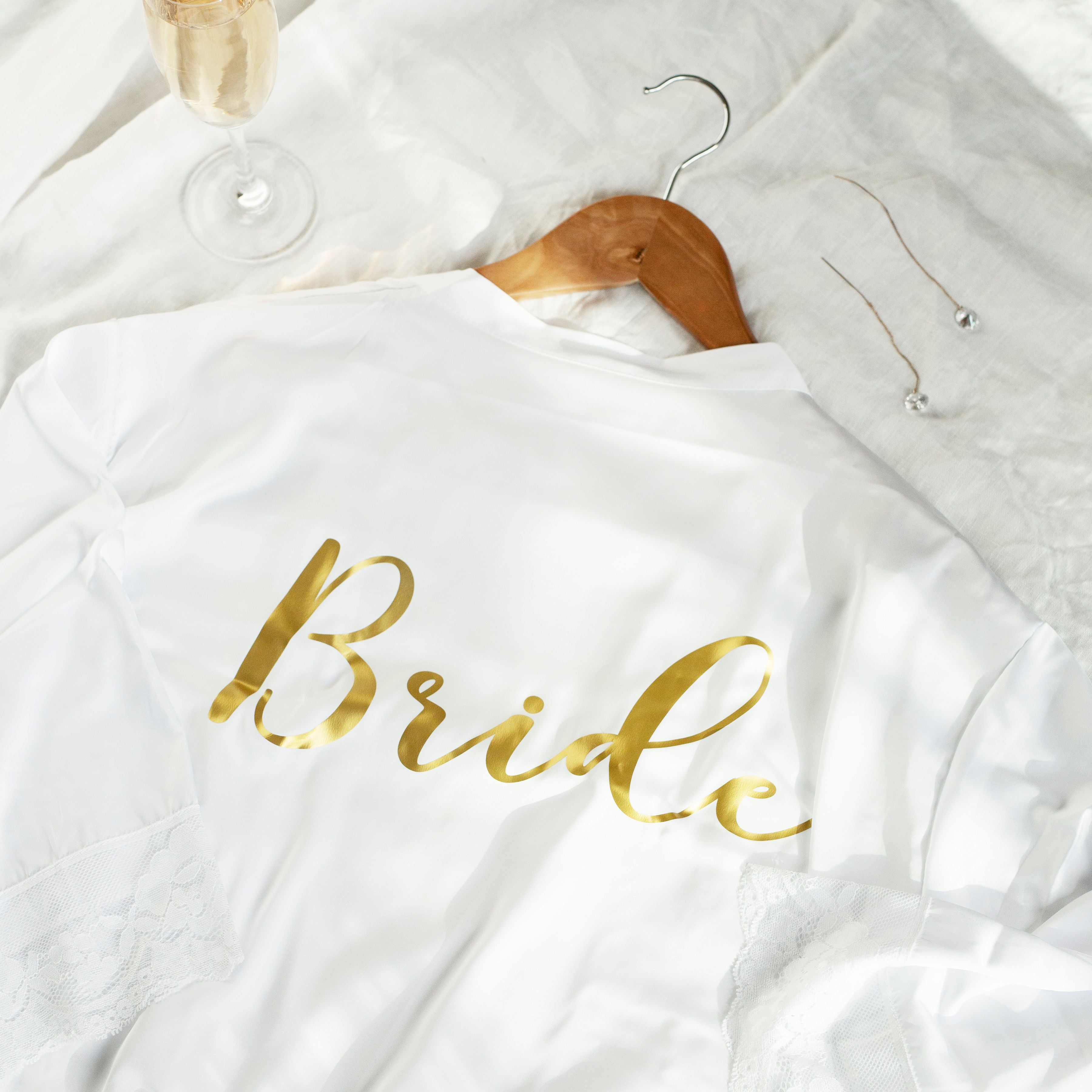 Rosie Lace Satin Robe - Bride Tribes