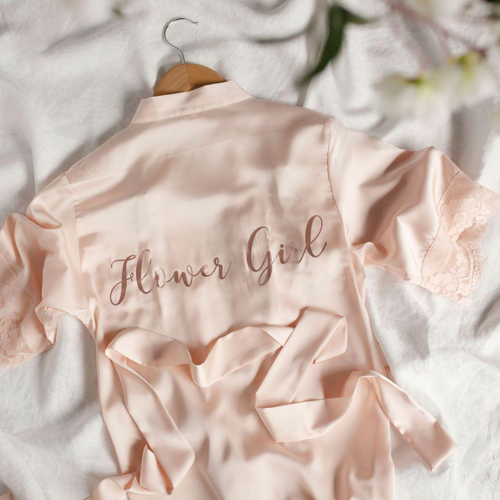 Love Lace Flower Girl Robe - Bride Tribes