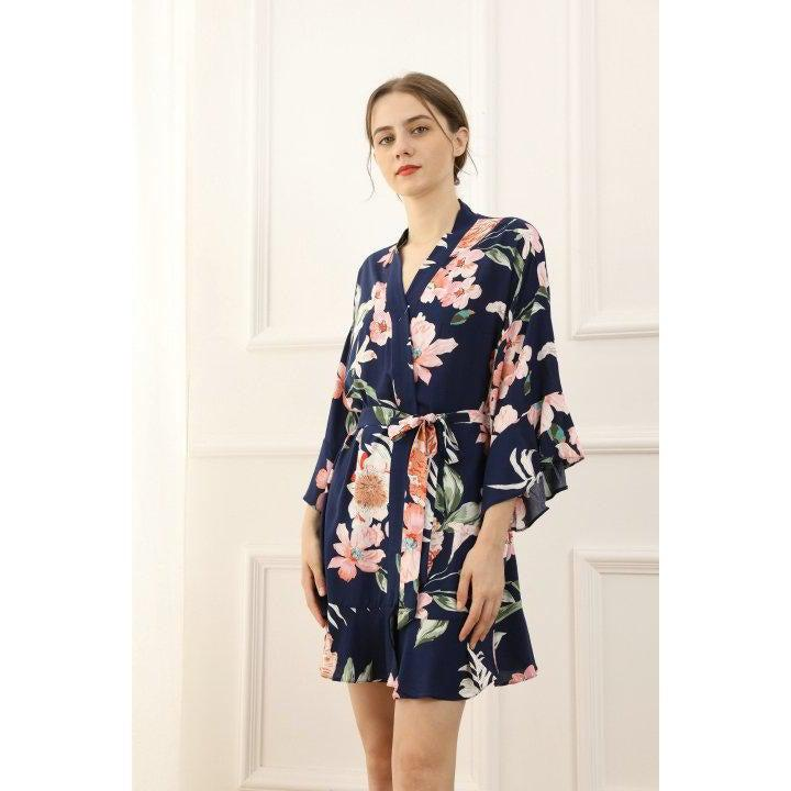 Navy Cotton Floral Bridesmaid robe side