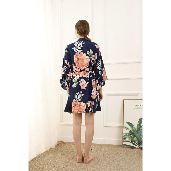 Navy floral cotton bridesmaid robe