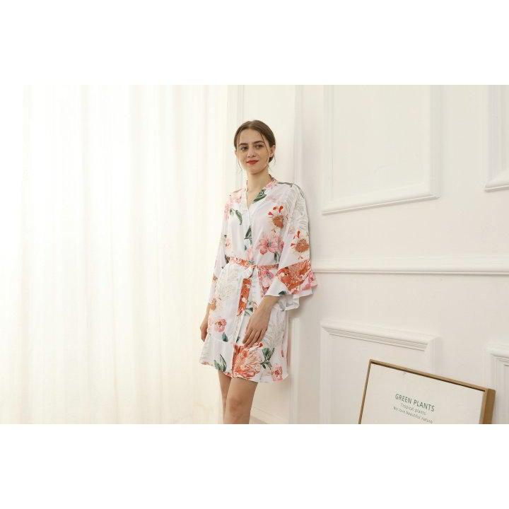 White floral cotton bridal robe