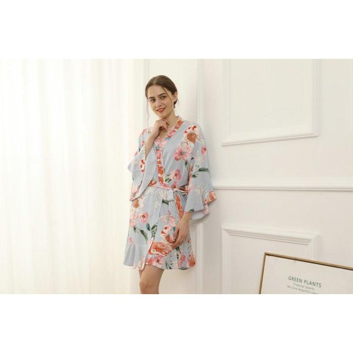 dusky blue floral cotton bridesmaid robe