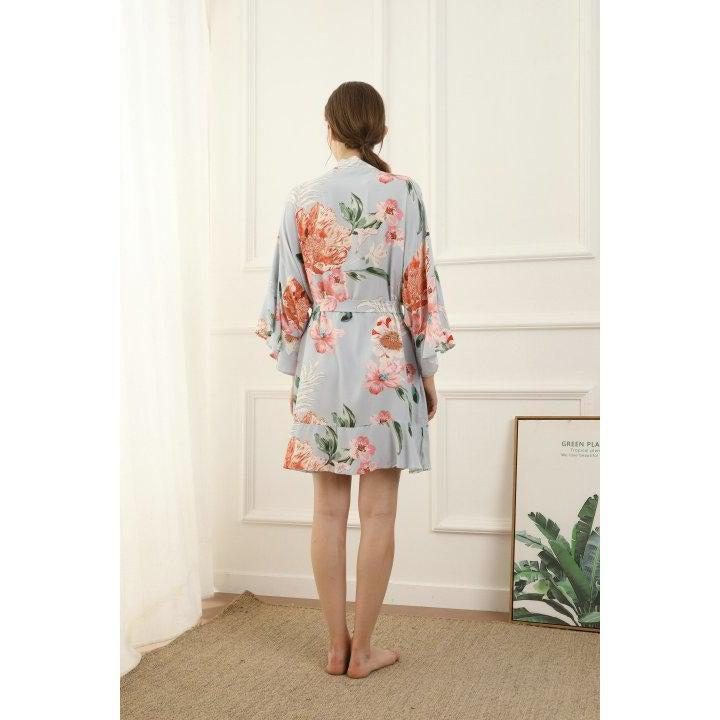 dusky blue floral cotton bridesmaid robe back