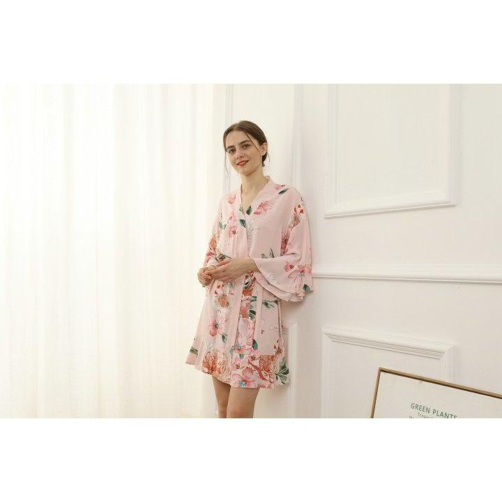 blush floral cotton bridesmaid robe