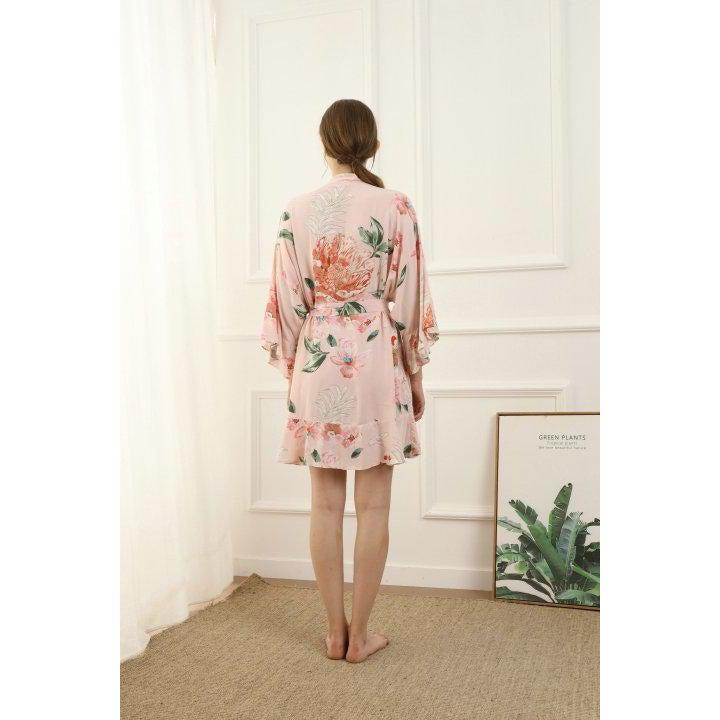 blush floral cotton bridesmaid robe back