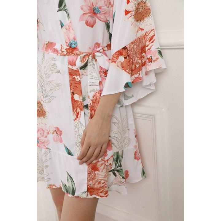 Ruffled edged floral robe