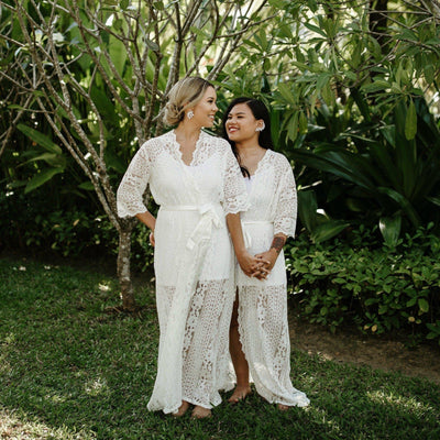 White Lace Bridal Robe - Harlow - Bride Tribes