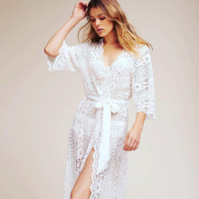 Load image into Gallery viewer, White Lace Bridal Robe - Harlow - Bride Tribes