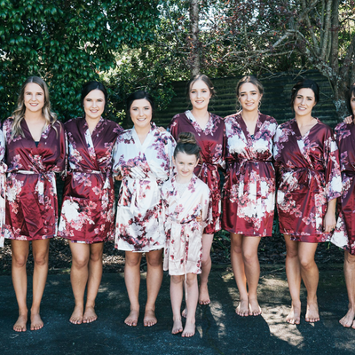 burgundy floral bridesmaid robes