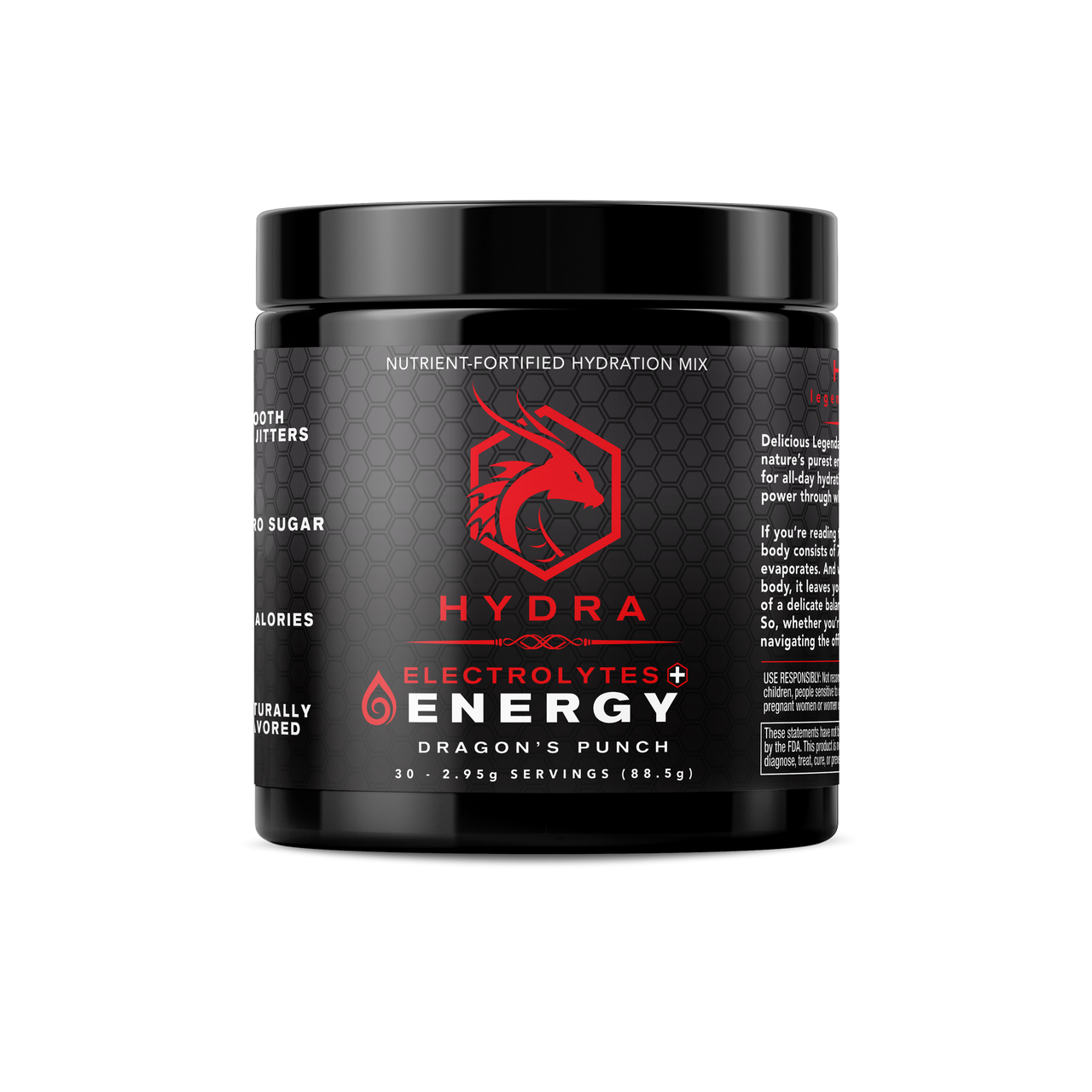 HYDRA: ENERGY + Electrolytes Drink Mix, Dragon's Punch, 30 Servings