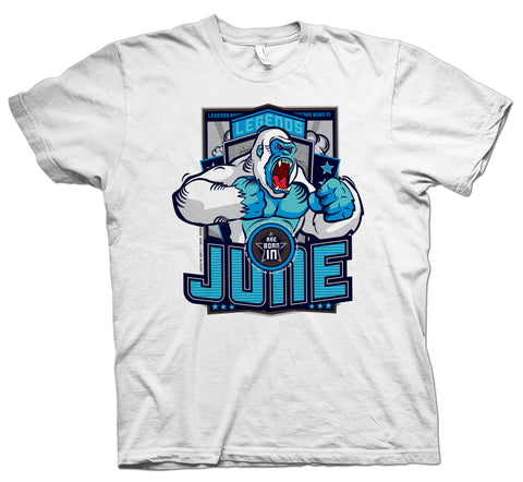 Legends Are Born in June White Gorilla T-shirt