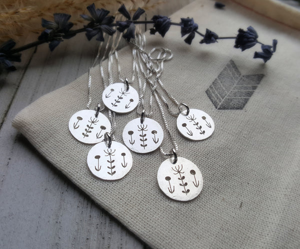 Wildflower Pendant - Silver flowers charm