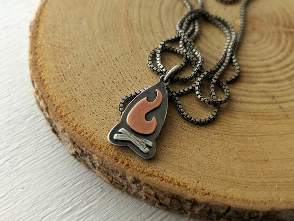 Campfire Pendant - Camping Bonfire necklace
