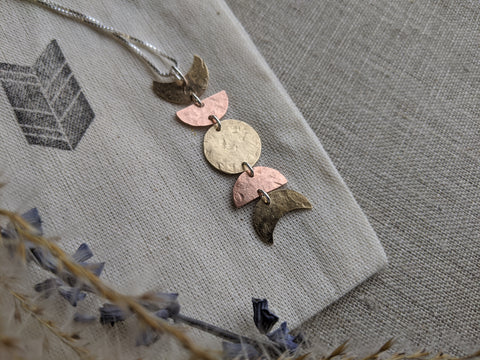 Moon Cycle Necklace - mixed metal moon phase pendant