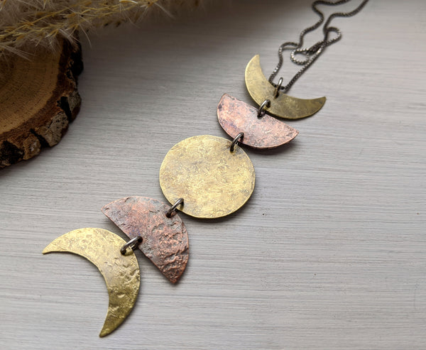 Moon Phase Necklace, large - Mixed Metal Lunar Pendant