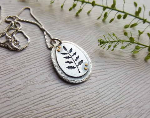 Silver Fern Pendant - Botanical Necklace