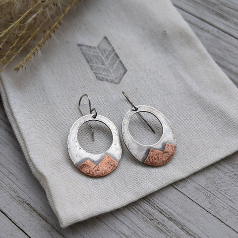 Move Mountains - mixed metal mountain earrings