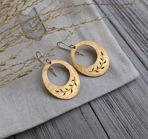 Gold Leaves - brass botanical earrings