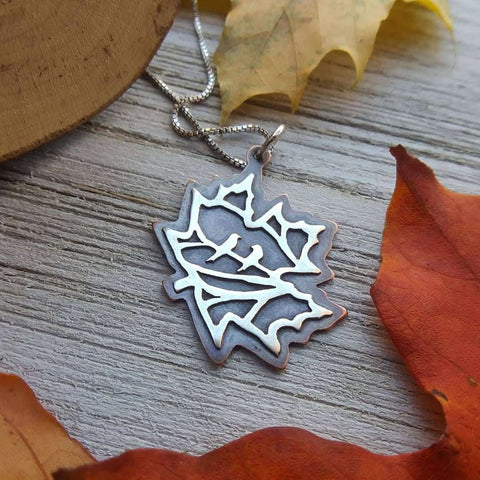 Birds in the Maple - copper and silver pendant