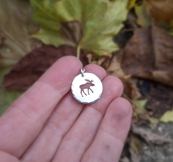 Silver Moose Necklace - silver wildlife charm