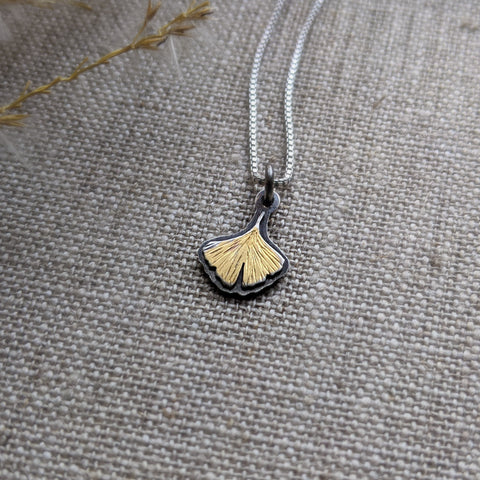 Ginkgo Leaf Pendant - Keum Boo silver and gold
