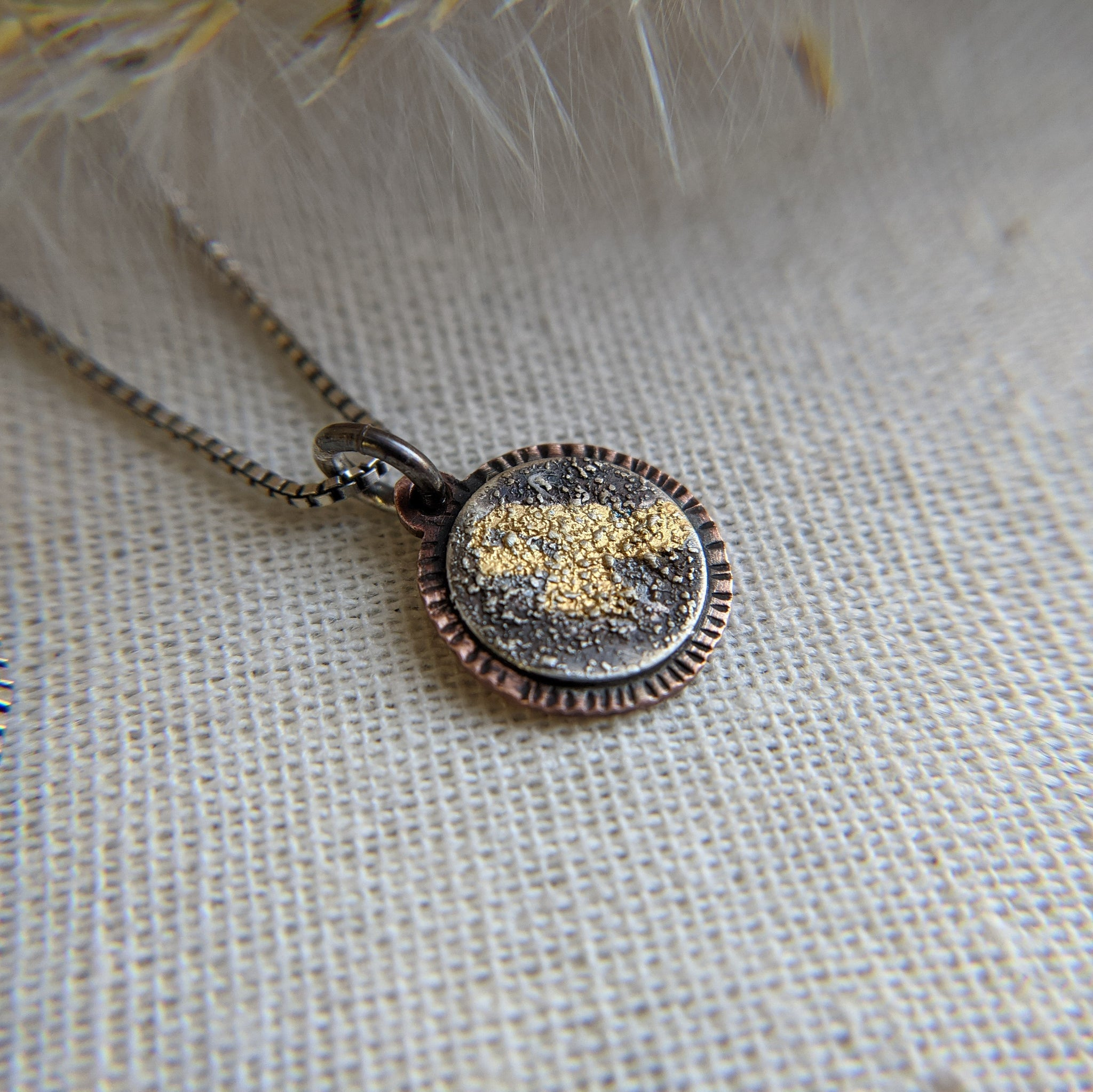 Tiny Galaxy Pendant III- Keum Boo silver, gold, copper