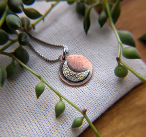 Crescent Moon - Keum Boo silver, gold, copper