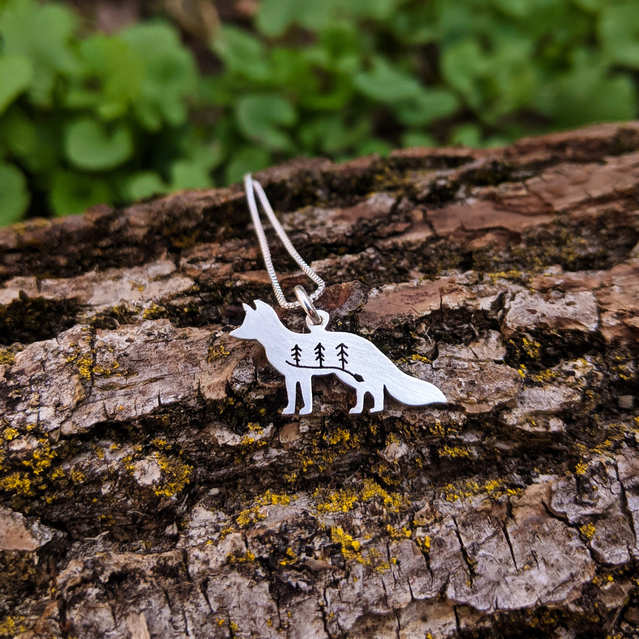 Woodland fox pendant - silver necklace