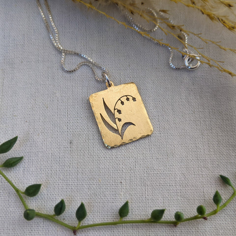 Lily of the Valley - brass botanical necklace