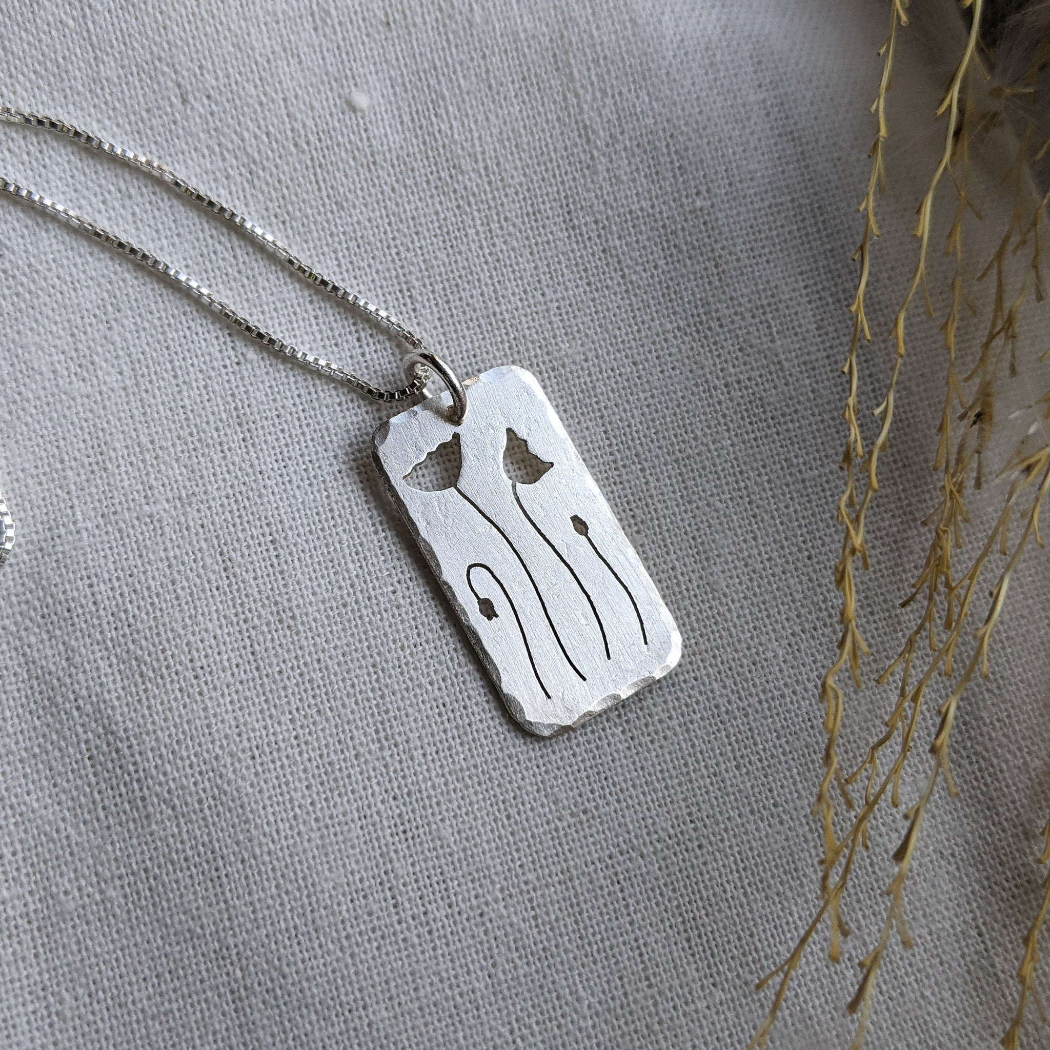 Field Poppies - silver botanical necklace