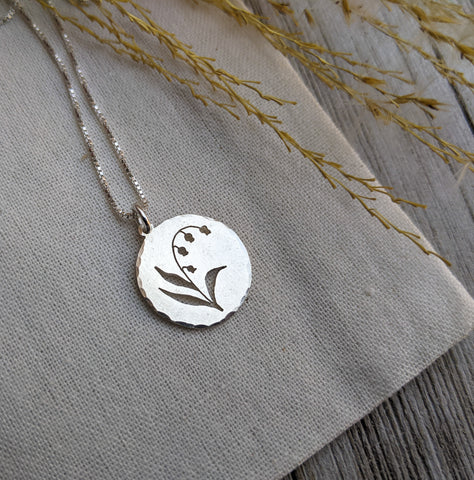 Lily of the Valley - silver botanical necklace