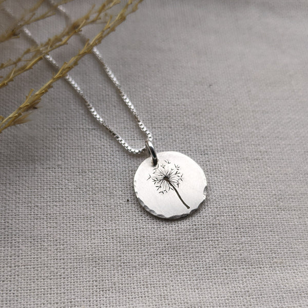 Dandelion Wishes - silver botanical necklace