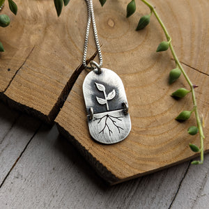 Seedling Roots - silver botanical necklace