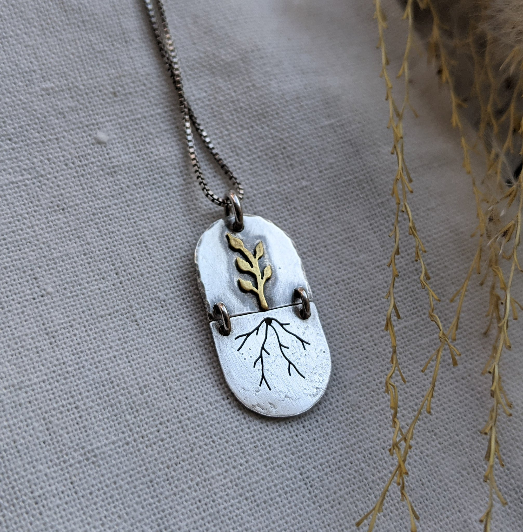 From Root to Sky  - mixed metal botanical necklace
