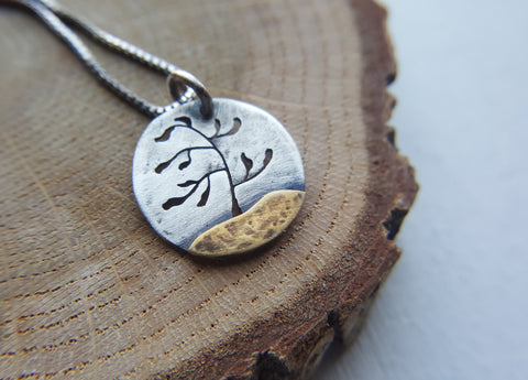 Windswept Pine - Silver and Brass mixed metal tree pendant