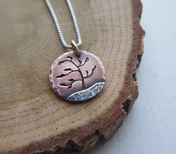 Windswept Pine - copper and silver mixed metal tree pendant