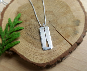 Paddle On - sterling silver canoe paddle necklace