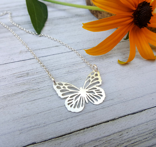 Monarch Necklace - Silver butterfly pendant