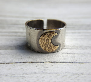 Crescent Moon Ring - sterling silver