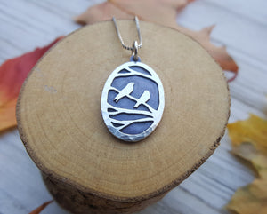 Birds in the trees - copper and silver pendant