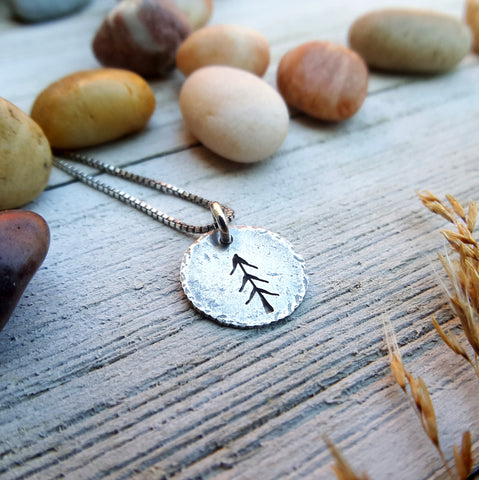 Tiny Pine Charm - sterling silver rustic tree necklace